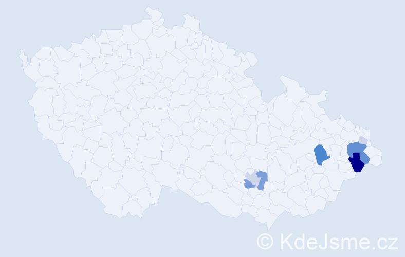 Příjmení: 'Čaganová', počet výskytů 20 v celé ČR