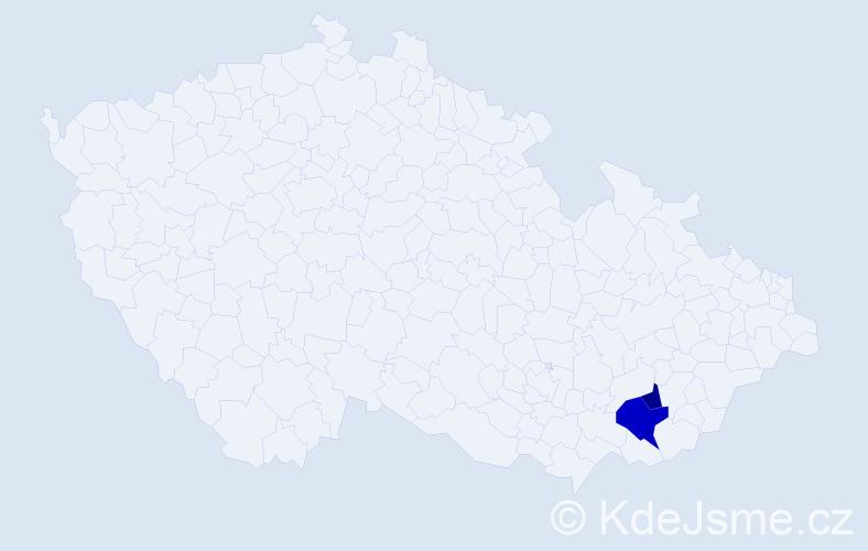 Příjmení: 'Čevelíček', počet výskytů 9 v celé ČR