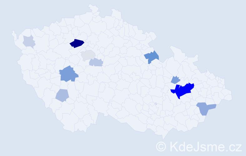 Příjmení: 'Henklová', počet výskytů 35 v celé ČR