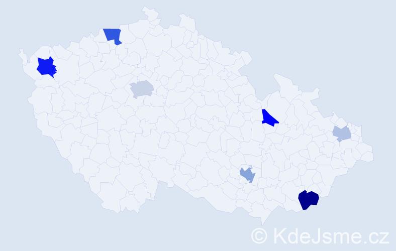 Příjmení: 'Christodoulou', počet výskytů 12 v celé ČR