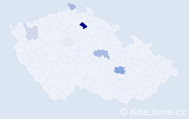 Příjmení: 'Hegedűš', počet výskytů 11 v celé ČR