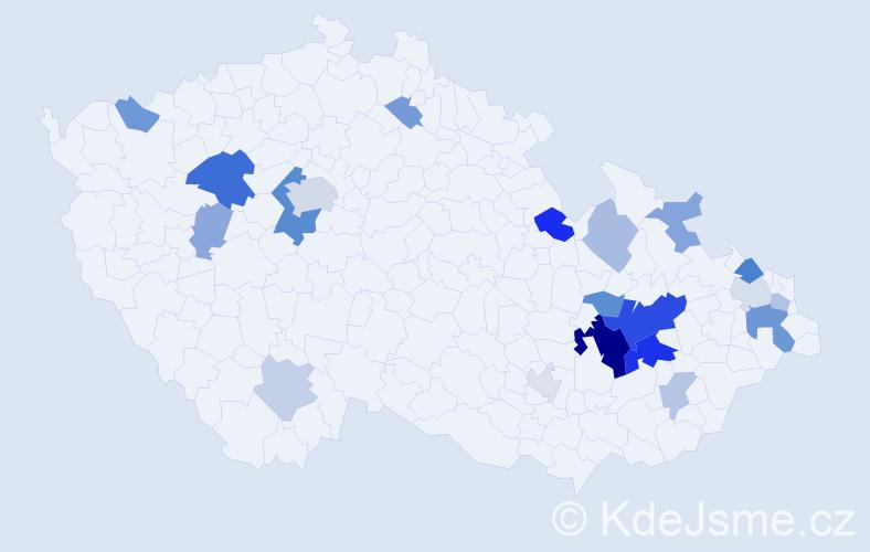 Příjmení: 'Halenková', počet výskytů 49 v celé ČR