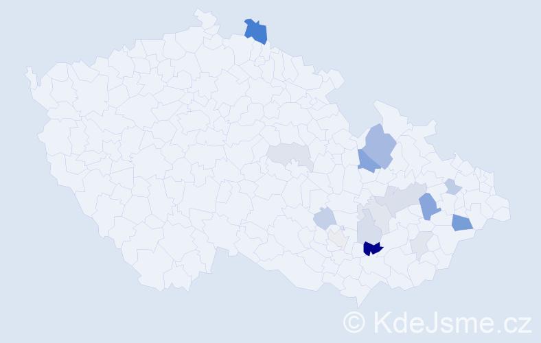 Příjmení: 'Facková', počet výskytů 34 v celé ČR