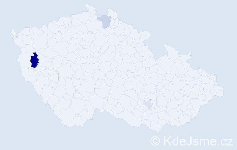 Příjmení: 'Ihnaťo', počet výskytů 4 v celé ČR