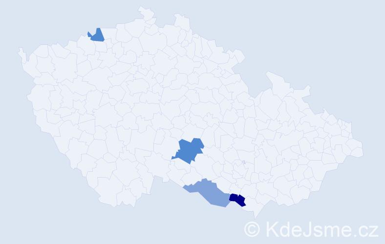 Příjmení: 'Chrenovská', počet výskytů 5 v celé ČR