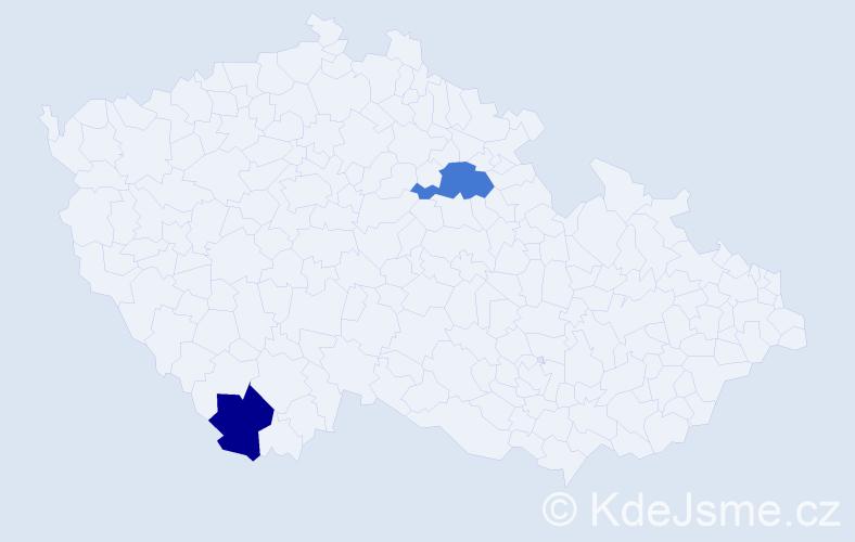 Příjmení: 'Daoudi', počet výskytů 7 v celé ČR