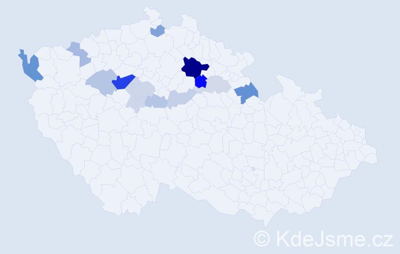 Příjmení: 'Dobiášovská', počet výskytů 38 v celé ČR