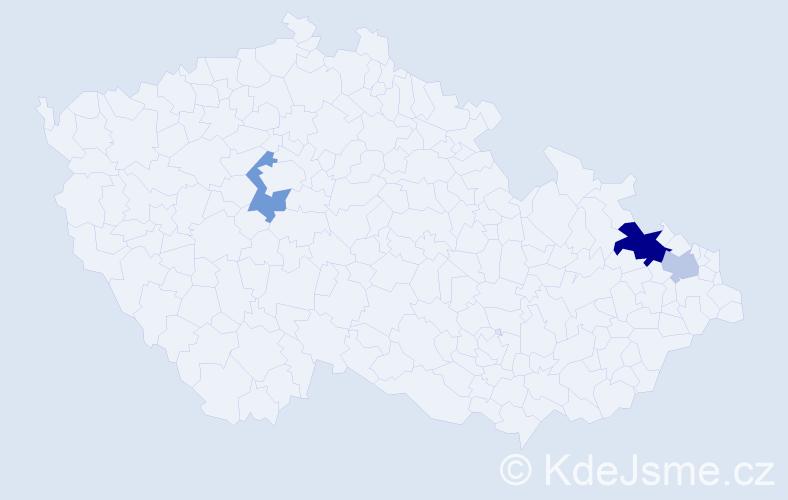 Příjmení: 'Halátková', počet výskytů 18 v celé ČR
