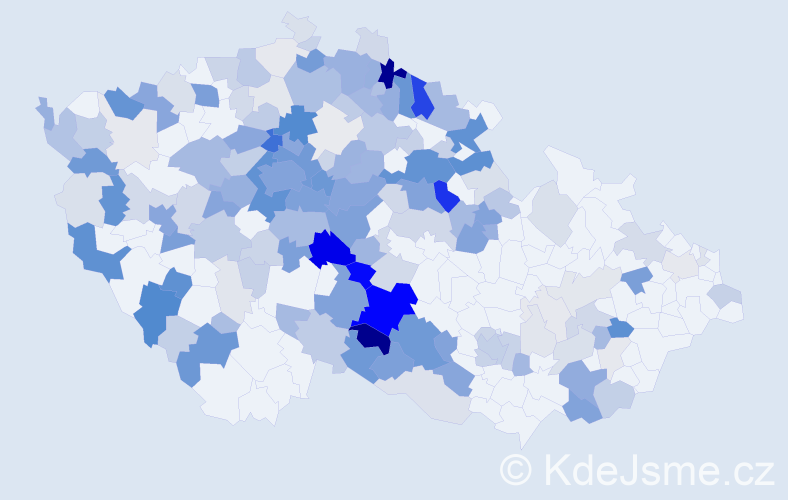 Příjmení: 'Jakoubek', počet výskytů 703 v celé ČR