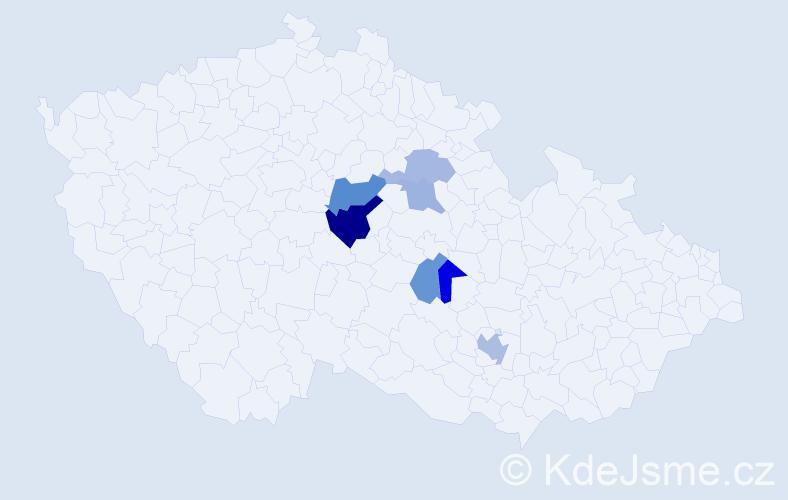 Příjmení: 'Kaisner', počet výskytů 11 v celé ČR