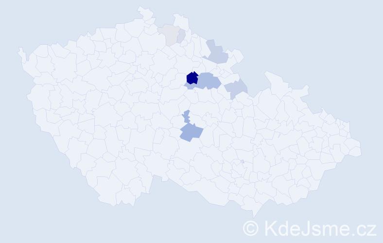 Příjmení: 'Klouzek', počet výskytů 19 v celé ČR