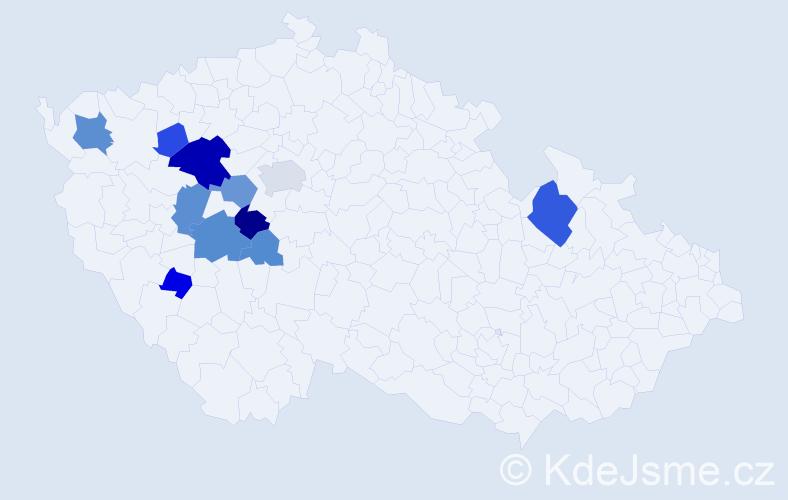 Příjmení: 'Kessl', počet výskytů 27 v celé ČR