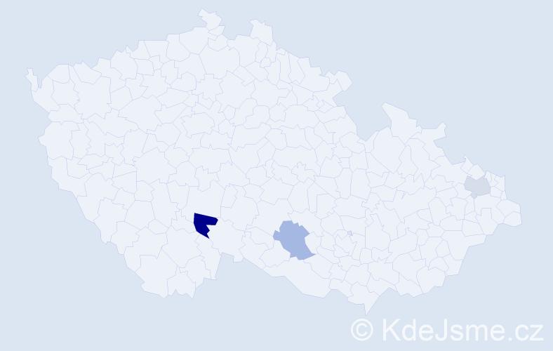 Příjmení: 'Kostadinová', počet výskytů 4 v celé ČR