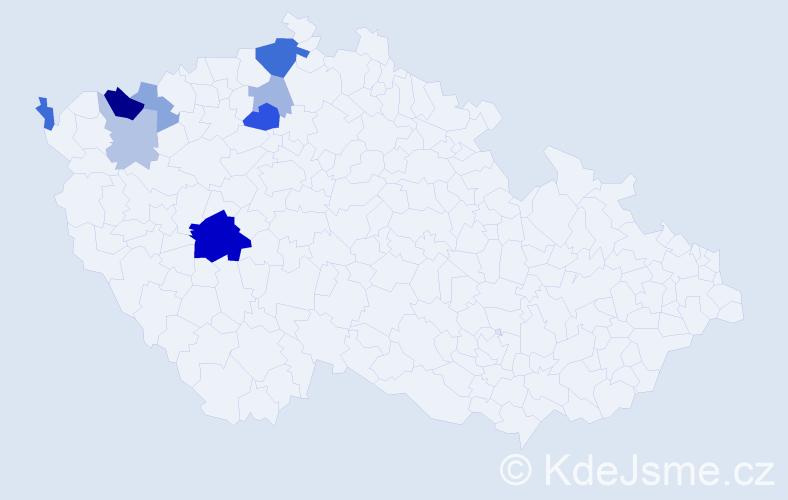 Příjmení: 'Čornyj', počet výskytů 19 v celé ČR