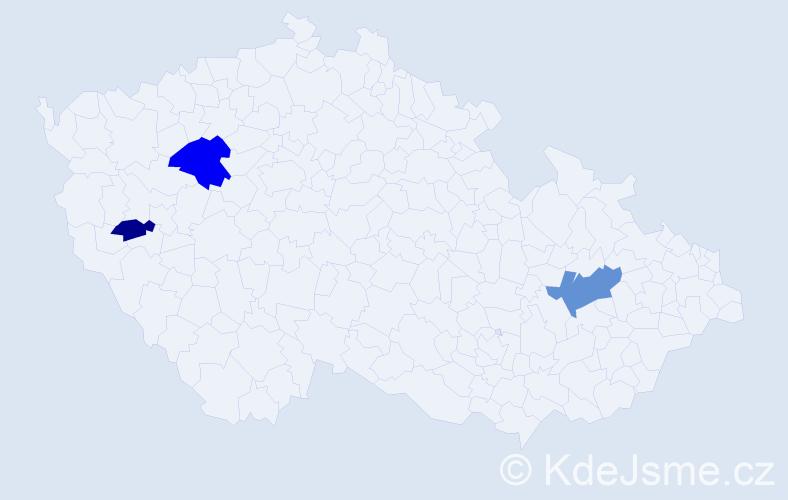 Příjmení: 'Čemezová', počet výskytů 5 v celé ČR