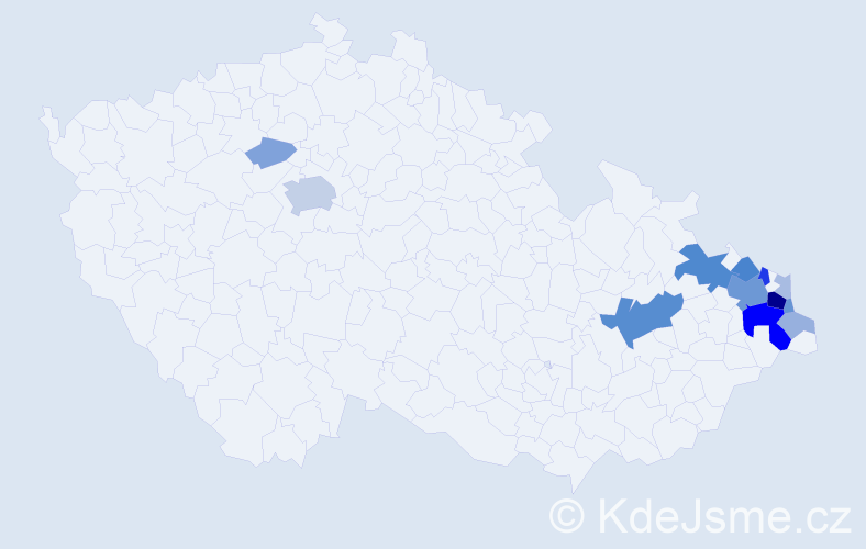 Příjmení: 'Galgonek', počet výskytů 45 v celé ČR