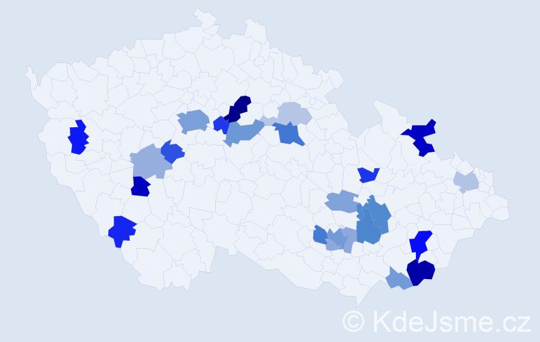 Příjmení: 'Dedík', počet výskytů 61 v celé ČR