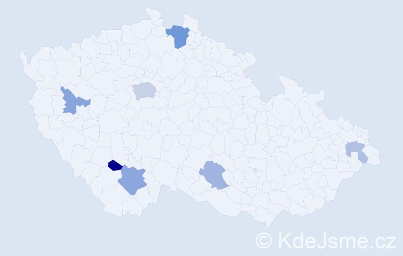 Příjmení: 'Daniels', počet výskytů 14 v celé ČR
