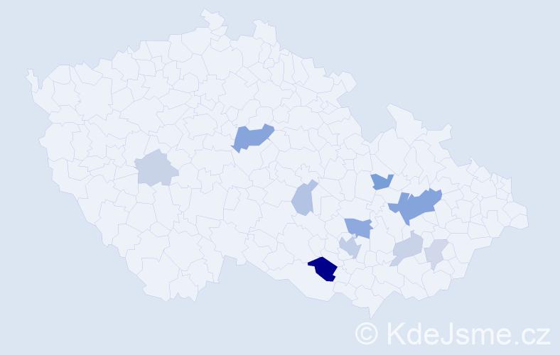 Příjmení: 'Absatz', počet výskytů 23 v celé ČR