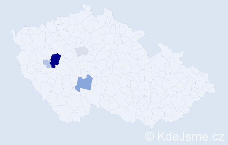 Příjmení: 'Kantárová', počet výskytů 7 v celé ČR