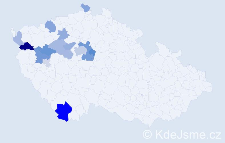Příjmení: 'Hausdorf', počet výskytů 34 v celé ČR