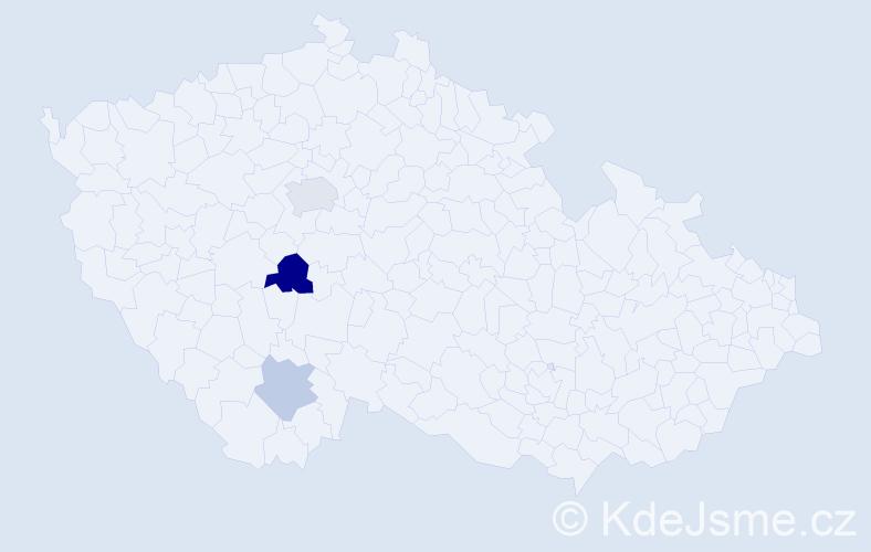Příjmení: 'Cvetkova', počet výskytů 5 v celé ČR