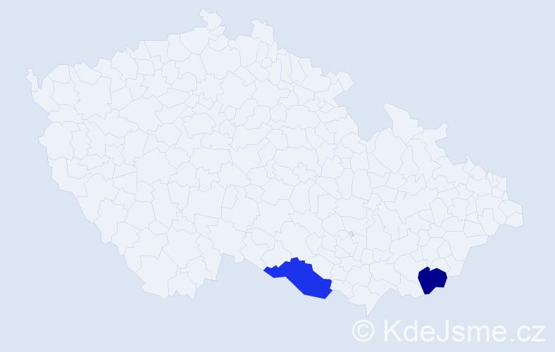 Příjmení: 'Kablásková', počet výskytů 4 v celé ČR