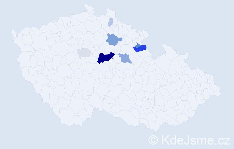 Příjmení: 'Debelková', počet výskytů 25 v celé ČR