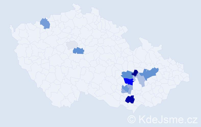 Příjmení: 'Gráblová', počet výskytů 29 v celé ČR