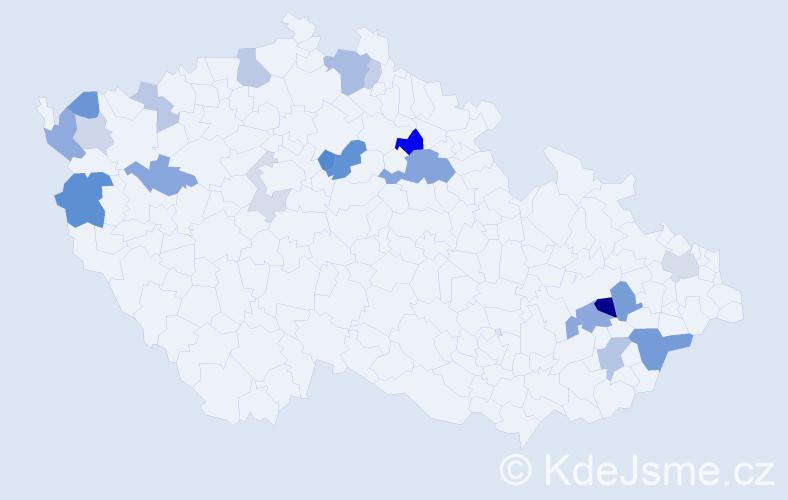 Příjmení: 'Gabera', počet výskytů 45 v celé ČR