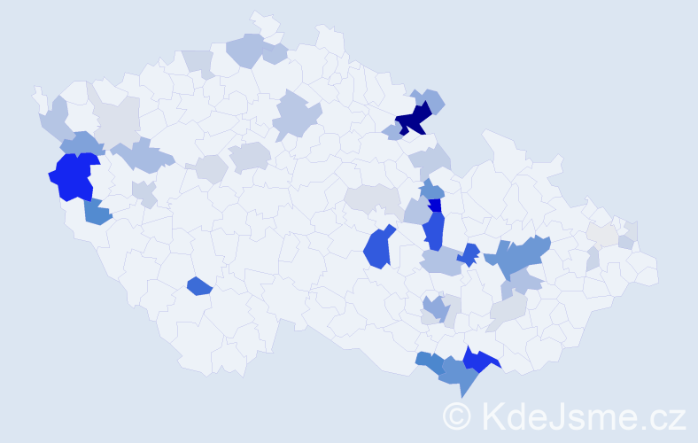Příjmení: 'Galbová', počet výskytů 154 v celé ČR