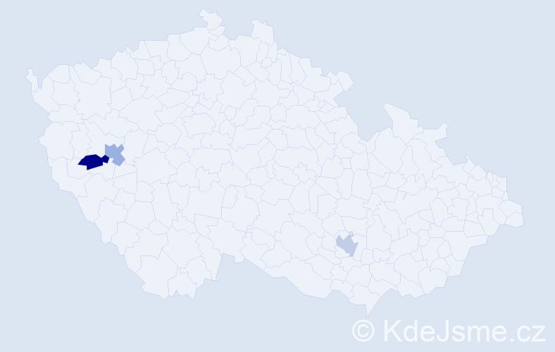 Příjmení: 'Hajnárová', počet výskytů 3 v celé ČR