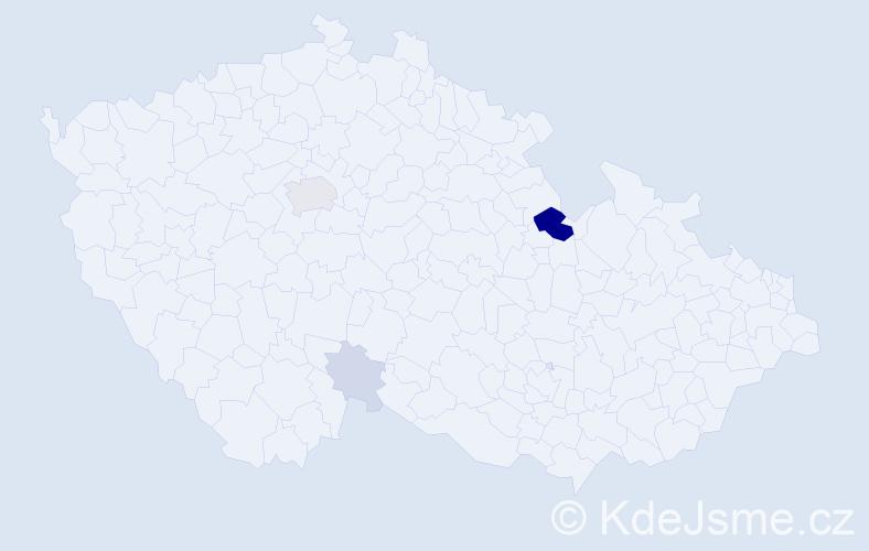 Příjmení: 'Honskus', počet výskytů 15 v celé ČR