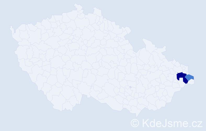 Příjmení: 'Iberla', počet výskytů 4 v celé ČR