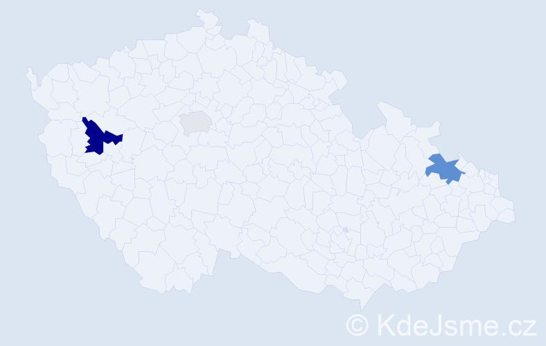 Příjmení: 'Holeva', počet výskytů 6 v celé ČR