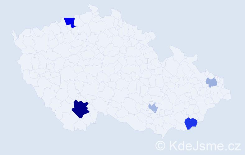 Příjmení: 'Jankovichová', počet výskytů 8 v celé ČR