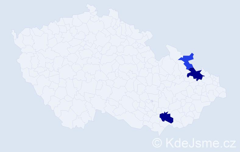 Příjmení: 'Gančařová', počet výskytů 6 v celé ČR