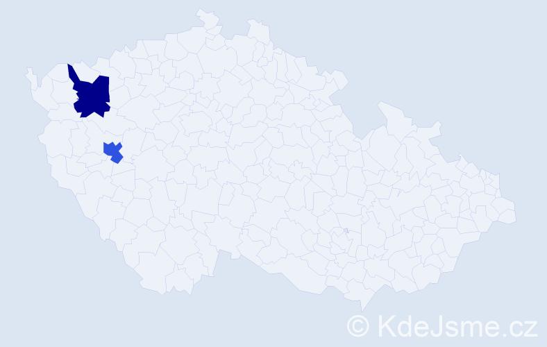 Příjmení: 'Hrečaňuk', počet výskytů 2 v celé ČR