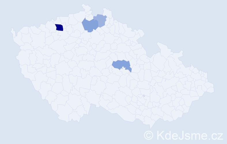 Příjmení: 'Čobák', počet výskytů 7 v celé ČR