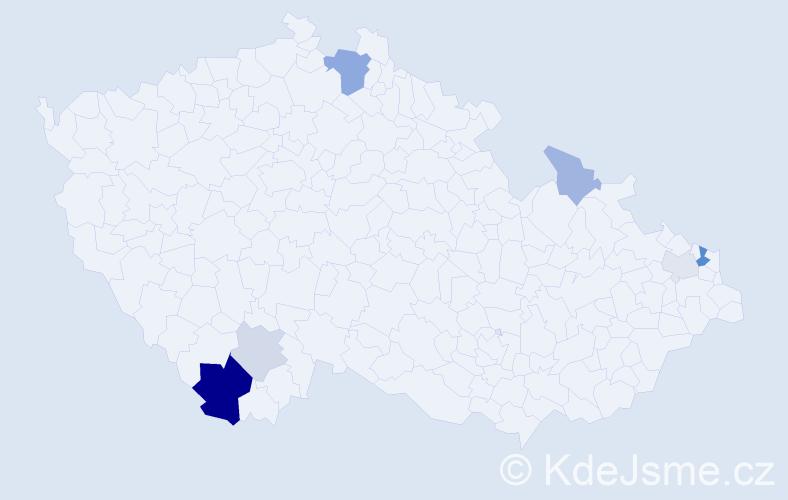 Příjmení: 'Kovarik', počet výskytů 15 v celé ČR