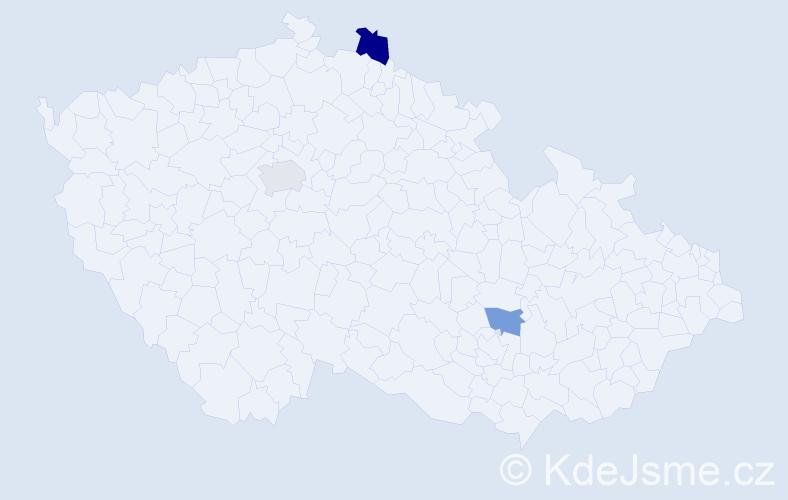 Příjmení: 'Čengerová', počet výskytů 7 v celé ČR