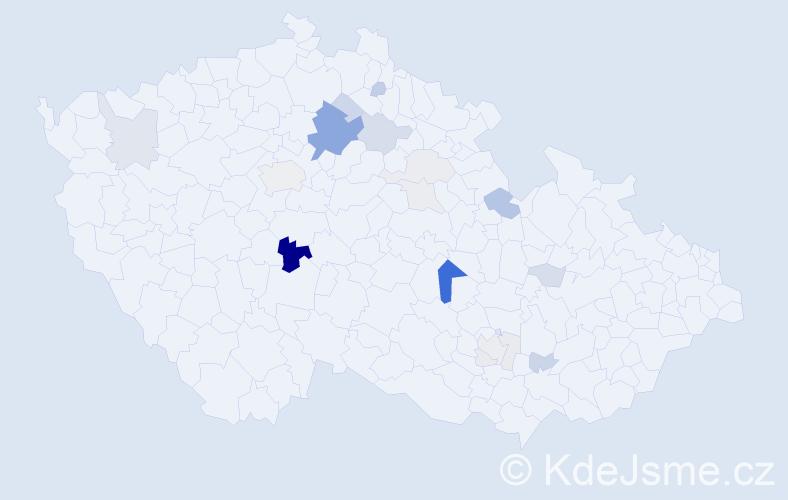 Příjmení: 'Klapačová', počet výskytů 55 v celé ČR
