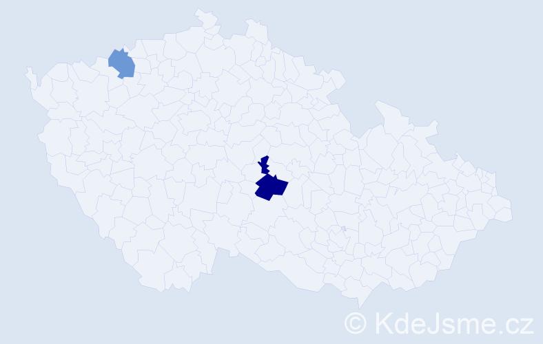 Příjmení: 'Klymová', počet výskytů 3 v celé ČR