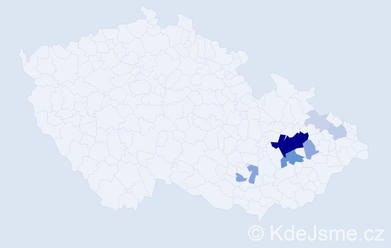 Příjmení: 'Lepařová', počet výskytů 27 v celé ČR
