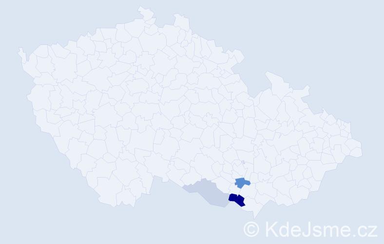 Příjmení: 'Děnešová', počet výskytů 6 v celé ČR