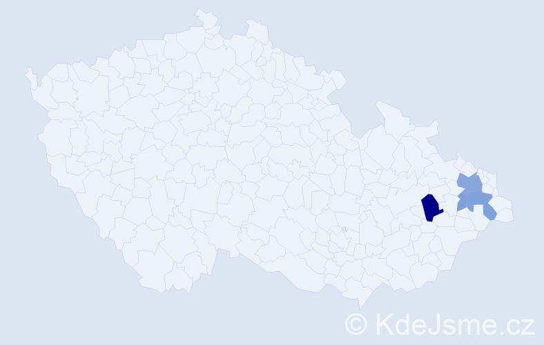 Příjmení: 'Klajná', počet výskytů 10 v celé ČR