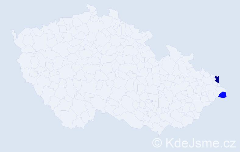 Příjmení: 'Čerpáková', počet výskytů 5 v celé ČR