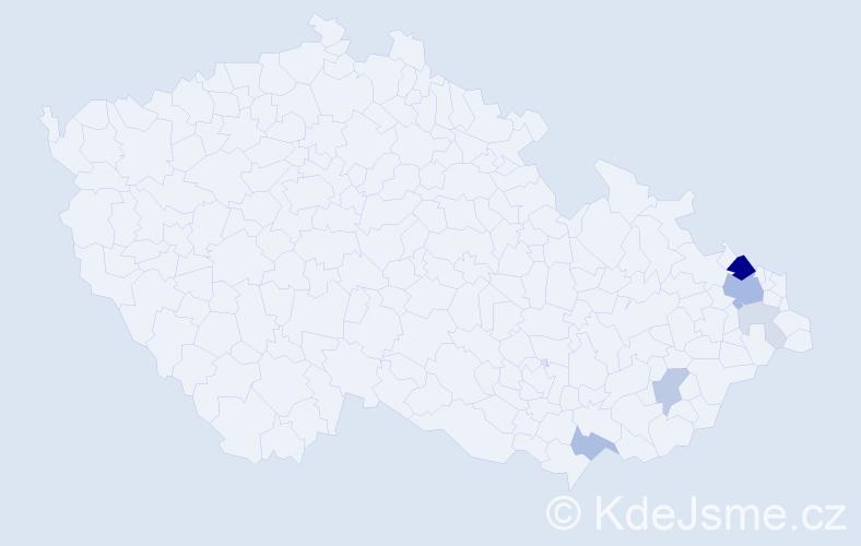 Příjmení: 'Gaida', počet výskytů 21 v celé ČR