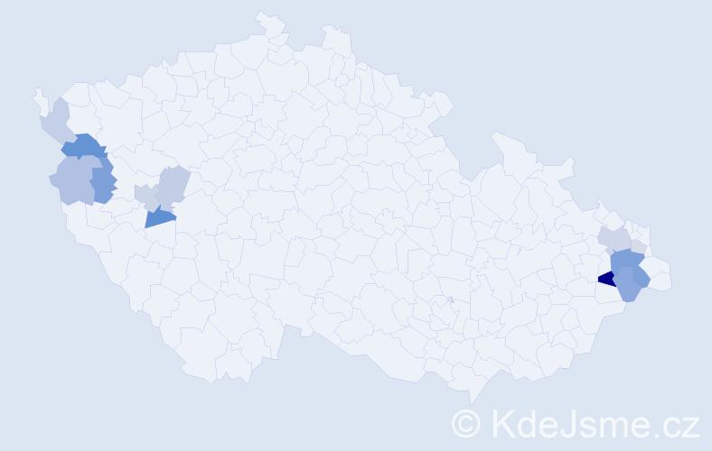 Příjmení: 'Karoly', počet výskytů 23 v celé ČR