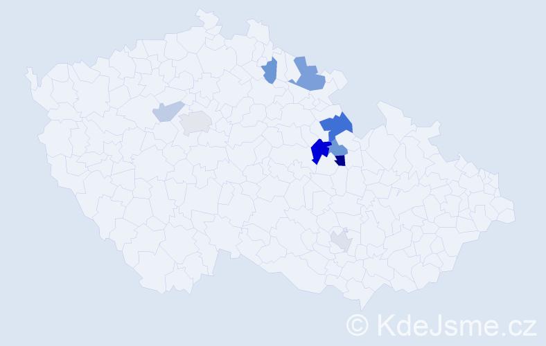Příjmení: 'Jiřele', počet výskytů 15 v celé ČR